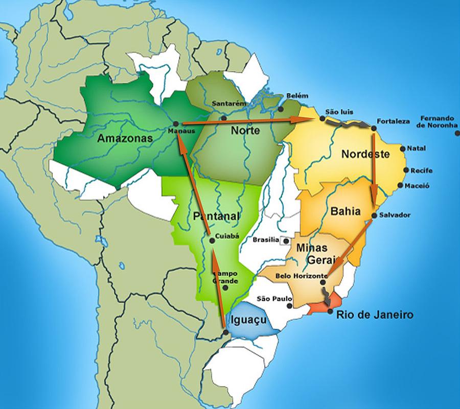 carte parcours Grand Tour du Brésil
