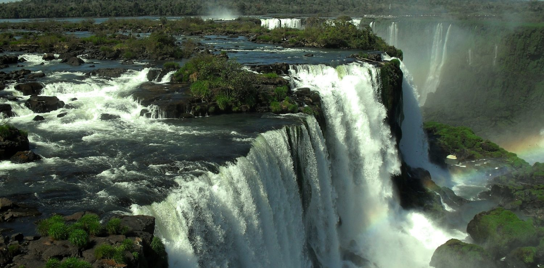 Brazilian Iguazu Falls seen from the back